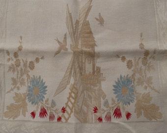 1880s Antique Linen Damask Hand Woven Windmill Birds Bee SHOW TOWEL victorian