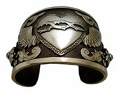 Mexican Silver Cuff Bracelet with Winged Sacred Heart & Blue Swarovski Crystals - Artisan