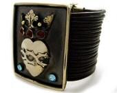 Brown Multi-Strand Leather Bracelet with Crowned Sacred Heart & Swarovski Crystals - Artisan