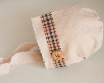 Newborn Boy Hat. Plaid. Boy Fabric Bonnet. Natural Fabric. Baby. Infant. Photo Prop. Newborn. Preston Hat. Tolola Design