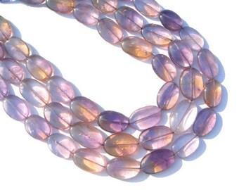 Ametrine Smooth Oval Semiprecious Gemstone Beads (Quality B) / 12 Pieces / CODE 892