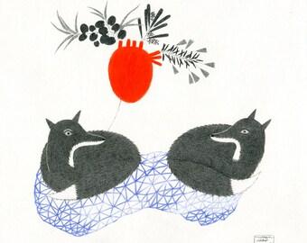 Original Pencil Drawing, Illustration Fox Couple, Geometry, Woodland Wedding, Fox Lover Gift, Animals, Love, Fuchs Zeichnung, キツネ, Renard