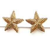 Vintage Richard Kerr Gold Crystal Star Earrings Gold 1.75 Inches