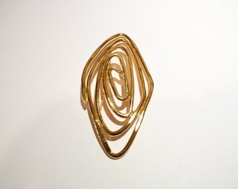 Large Gold Spiral Pin 4 Inches Modernist Design