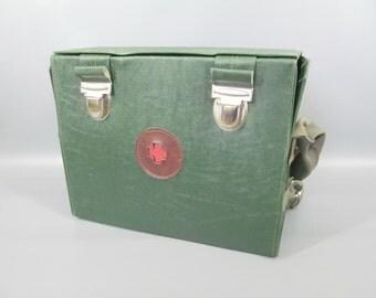 Vintage 1960s 1970s Green Vinyl Medical Multipurpose Storage Box With Shoulder Straps