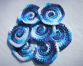 Cotton Facial Cloths, Blues and Purple Make Up Removers, Set of Seven, Crochet Washcloths, Reusable Facial Cloths, Hostess Gift
