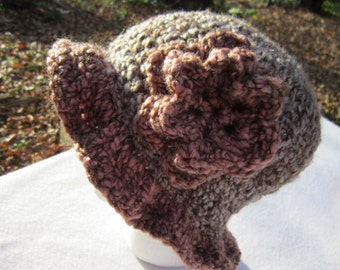 Brown and Pink Crochet Sun Hat, Bulky Hat, Winter Hat with Brim and Pink Flower
