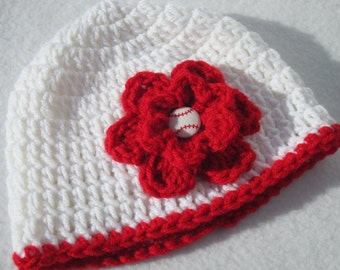 Baseball Baby Cap, Crochet White with Red Cap with Red Flower MADE TO ORDER by Charlene, St. Louis Cardinals Inspired, Photo Prop