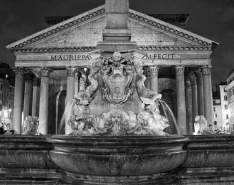 Fine Art Photography, Pantheon at night, Rome, Italy, fountain, black and white, 8x12 shown, 8x10 is doable