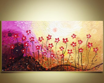 "Abstract Red poppies Oil Painting Original Impasto Palette Knife art on Canvas 24""x48""Ready to Hang by Qujun"