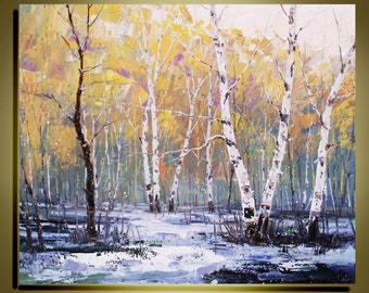 "Original Oil Painting  Modern Palette Knife landscape fine art on Canvas The winter Birch Forest Ready to Hang by Qujun 20"" by 24"""