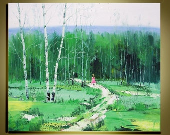 "Original oil painting Modern Palette Knife landscape fine art on Canvas Road in Birch forest Ready to Hang by Qujun 20"" by 24"""
