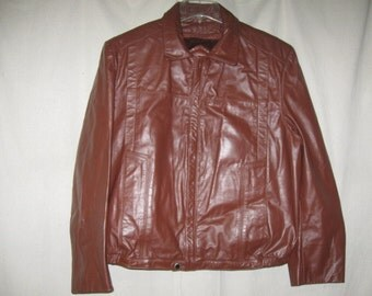 Vintage Bermans Brown Leather Bomber Flight Biker Jacket Coat Zip Out Liner 42 Medium