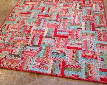 Crib Quilt Baby Girl Vintage Modern Red Pink Aqua Patchwork