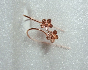 1 2 3 4 5 10 pairs, Handmade 18K Rose Gold over Sterling Silver Lovely Daisy Floral Earwires 20x12 mm - One Pair - EW-0014