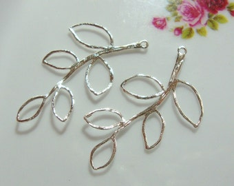 925 Sterling Silver textured Leaf Branch Connector, Link, Earring findings, Light Weight Pendant, 39x22mm