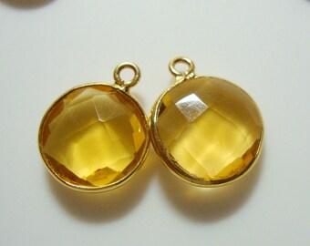 Handmade Citrine Quartz Ruby Vermeil Sterling Silver Bezel Rim Round Pendant Charm, 16x13mm, 1 pc