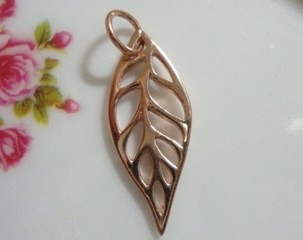 18K Rose Gold Vermeil Sterling Silver Open Work Leaf Pendant Charm with Bail, 24x10mm, 1 pc - PC-0014