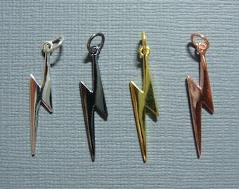 Lightning Bolt Pendant, Bolt Pendant, lighting bolt charm,high Polished, Shine like Lighting - PC-0015