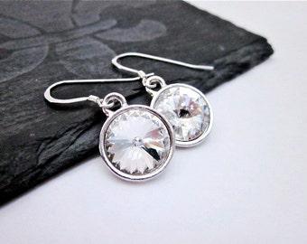 Crystal Clear Earrings -- Silver & Crystal Drop Earrings -- Clear Swarovski Crystal Earrings -- Sparkling Earrings