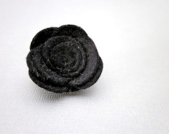 Felted Wool Flower Pin Accessory -- Black Felt Pin -- Black Felt Flower -- Black Flower Pin