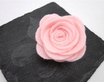 Baby Pink Flower Clip -- Pink Rose Brooch -- Pink Lapel Pin -- Pink Felt Pin Accessory -- Light Pink Flower Pin -- Pink Felt Rose Pin