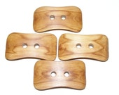 4 Handmade plum  wood  buttons, accessories(4,5 x 2,5 cm - 1,77 x 1,0 inches)