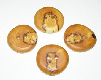 """4 Handmade  birch wood buttons, accessories (1,57"""" diameter x 0,31"""" thick)"""