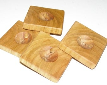 "4 Handmade plum wood buttons, accessories (1,57 x 1,57"" diameter x 0,28"" thick)"