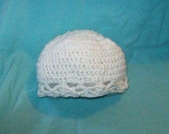 Baby Hat With Scalloped Edging, White Color Crochet Hat, Baby Shower Gift
