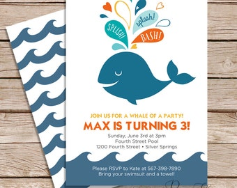 pool party invitations / summer  birthday party invitations  / printable invitations / printed cards