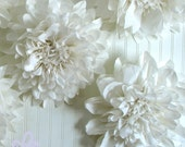 PURE LOVE. 5 Giant Paper Flowers, hanging, wall flower, white wedding, shower, photo booth, winter wonderland. Party Blooms by Whimsy Pie