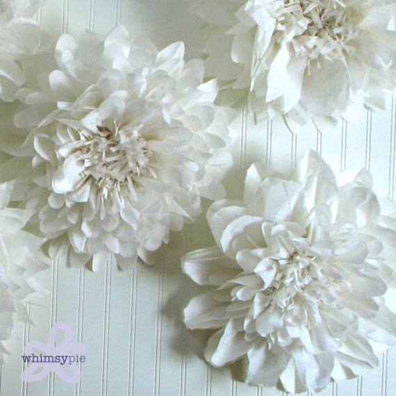 pure love  5 giant paper flowers hanging wall flower white