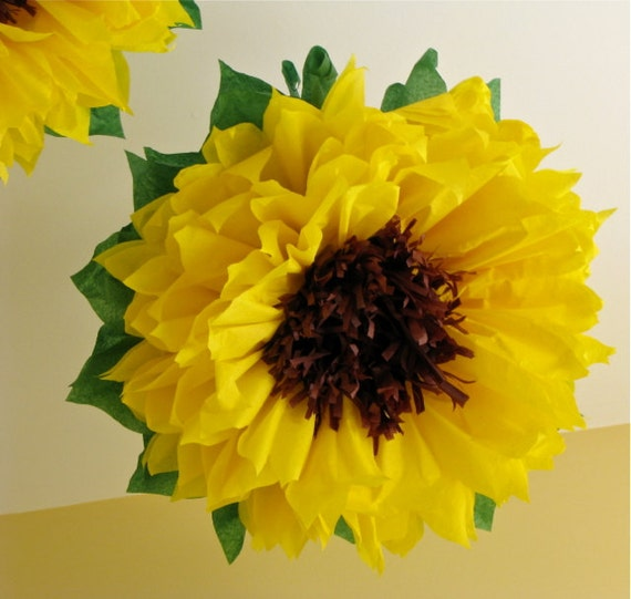 HAPPY SUNFLOWERS 5 Giant Paper Flowers Autumn By Whimsypie