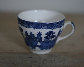 vintage blue willow coffee cup made in england