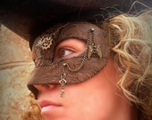 Steampunk Masquerade Mask in Patchwork Faux Leather