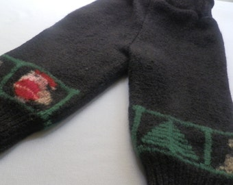 Christmas holiday sweater wool longies - size medium