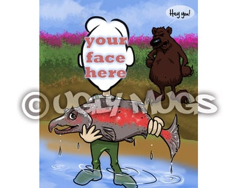 Custom Salmon Fisherman Fishing Caricature from Photos