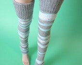 Winter Blue Gray Thigh High Socks for MSD SD Ball Jointed Doll
