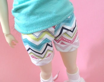 White Patterned Shorts for MSD SD Ball Jointed Doll