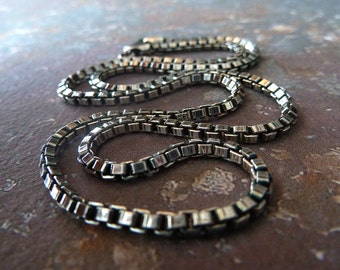 """Men's Jewelry, Men's Chain Necklace in Oxidized Sterling Silver 2.5 mm, Choose your Length 18, 20"""", 24"""", 30"""", 36"""""""