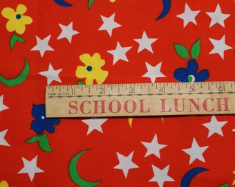 Vintage Red Star and Moon Fabric