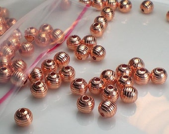 6mm Lined Copper Round Spacer Beads Genuine Copper Bead 50 pcs. GC-299