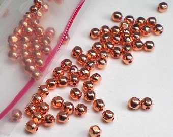 3mm Faceted Copper Round Spacer Beads Genuine Copper Bead 100 pcs. GC-307