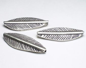 Long 32mm Leaf Bead Hill Tribe Fine Silver HT-248