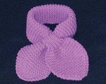 Hand knit toddler scarf in a pink/lavender organic Wool