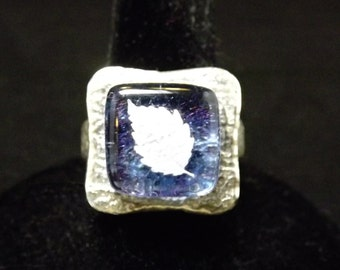 Fine Silver Light Blue Fused Glass Leaf Ring