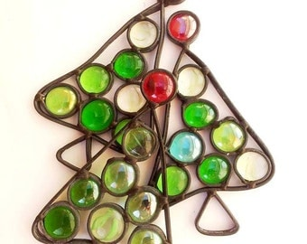 Christmas Glass Ornament, 3 pieces, glass ornaments, Stained glass decor tree Sale
