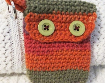 Handmade Cell phone cover, crochet 'Autumn hues' coin purse, keyring credit card holder, red and orange, green and purple, button close flap