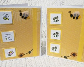Handmade Birthday Cards with Sunflowers and Bees Set of Two